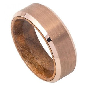 Men's Rose Gold Tungsten Carbide Wedding Band with African Sapele Mahogany Wood
