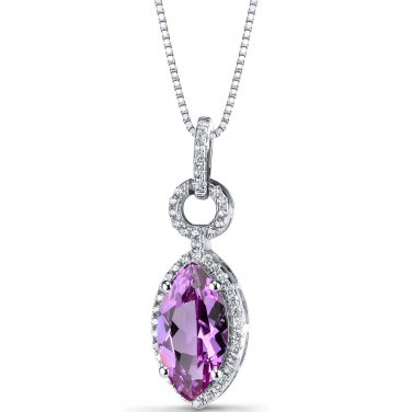 Women's Sterling Silver Vintage Marquise Cut Pink Sapphire Pendant Necklace