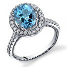 Women's Sterling Silver Oval Halo Swiss Blue Topaz Ring with Milgrain Finish