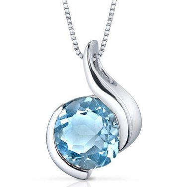 Women's Sterling Silver Round Swiss Blue Topaz Solitaire Pendant Necklace