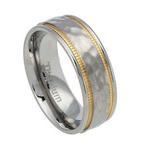 Men's Titanium Wedding Band Ring with Hammered and Yellow Gold Milgrain Finish