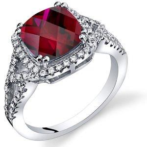 Women's Sterling Silver Cushion Cut Halo Ruby Ring