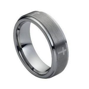 Men's 7mm Tungsten Carbide Wedding Band Ring with Cross Design