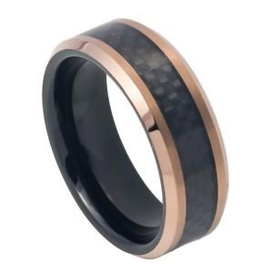 Men's Rose and Black Tungsten Carbide Wedding Band Ring Black Carbon Fiber Inlay