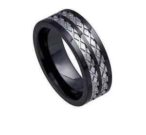 Men's Black Ceramic Wedding Band Ring with Tungsten Inlay Diamond-Cut Design