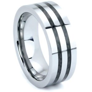 Men's 8mm Tungsten Cabide Wedding Band Ring Double Carbon Fiber Inlay