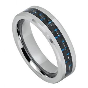 Men's Tungsten Carbide Wedding Band with Black and Blue Carbon Fiber Inlay 6mm W