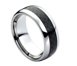 Men's Tungsten Carbide Wedding Band with Black Carbon Fiber Inlay Comfort fit