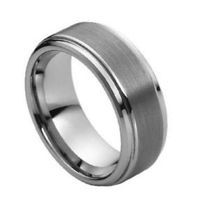Men's 8mm Tungsten Carbide Wedding Band Ring with Step Down Edges