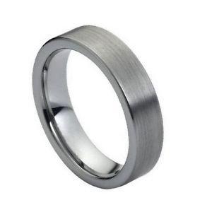 Men's Flat Tungsten Carbide Wedding Band Ring Brushed Finish 6mm Width
