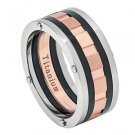 Men's Titanium Tri-Tone Grooved Wedding Band