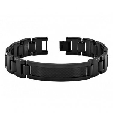 Men's Black Tungsten Carbide Flat Link Bracelet with Carbon Fiber Inlay