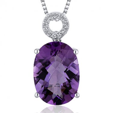 Sterling Silver Oval Amethyst Solitaire Pendant