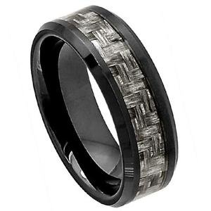 Men's Black Ceramic Wedding Band Ring Charcoal Gray Carbon Fiber Inlay
