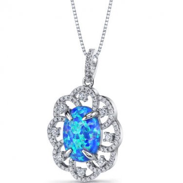 Sterling Silver Blue Opal Victorian Pendant Necklace