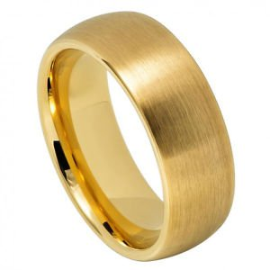 Men's Domed Yellow Gold Tungsten Wedding Band Ring Satin Finish
