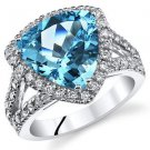 Sterling Silver Trillion Swiss Blue Topaz and Halo Ring