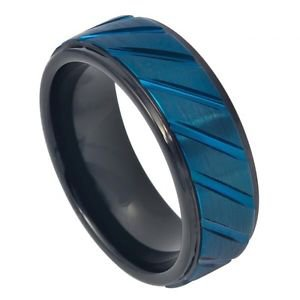 Men's Black Prussian Blue Tungsten Wedding Band Ring Satin 8mm Comfort Fit