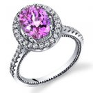 Women's Sterling Silver Pink Sapphire Oval Halo Ring with Milgrain Finish