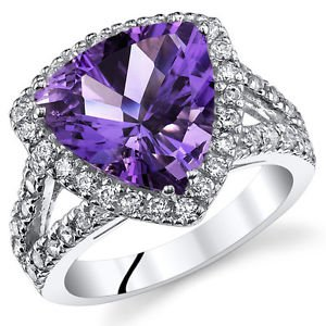 Sterling Silver Trillion Genuine Amethyst and Ring w/ Halo Design