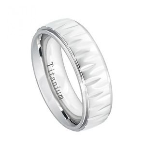Men's White 7mm Titanium Wedding Band Ring with Alternating Notched Design