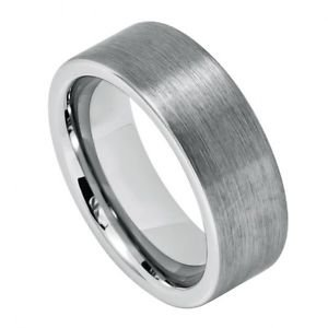 Men's Flat Tungsten Carbide Wedding Band Ring Brushed Finish