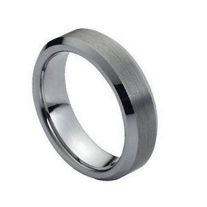 Tungsten Carbide Wedding Band Ring Beveled Edge Design 6mm Width