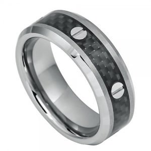 Men's Tungsten Carbide Wedding Band Ring Black Carbon Fiber Inlay and Srew Accen