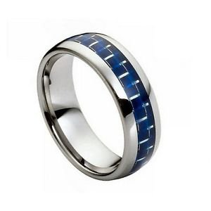 Men's Tungsten Carbide Wedding Band with Blue Carbon Fiber Inlay Comfort fit