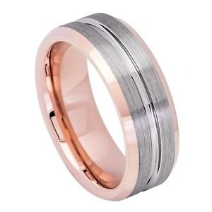 Men's Tungsten Carbide Wedding Band Ring Rose Gold Inside Grooved Comfort Fit