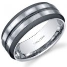 Men's Two Tone Comfort Fit Mens 8mm Titanium Wedding Band Ring