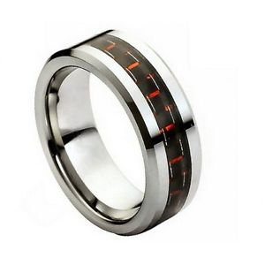 Men's Tungsten Carbide Wedding Band with Red Carbon Fiber Inlay Comfort fi