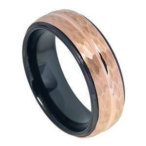Mens Tungsten Wedding Band Ring Tone Rose Gold Hammered Tungsten Carbide Wedding