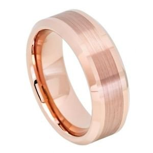 Mens Tungsten Ring Rose Gold Finish Wedding Band Satin Comfort Fit