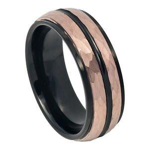 Mens Tungsten Wedding Band Ring Rose Gold Tone Hammered Tungsten Carbide Wedding