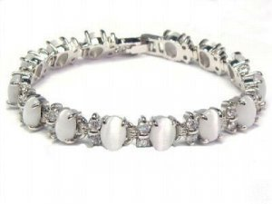 Noble jewelry silver gem opal beads chain link bracelet