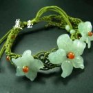 Noble chinese white jade flower stretch bracelet bangle