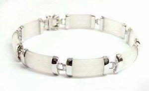 Jewellry silver gem white jade chain link bracelet