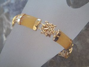 Noble jewellry gilding gem yellow jade bracelet bangle