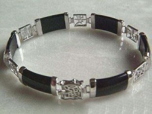 Fancy silver chain link gem black jade bracelet