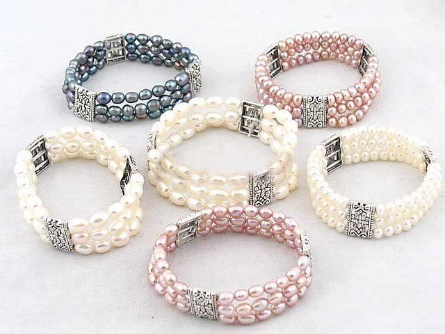 6 PCS Charmer Perle Argent Bracelets