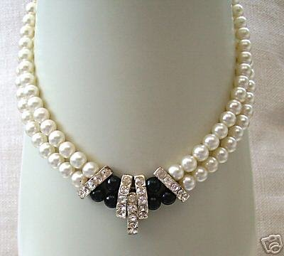 Beautiful 2 row blacks &white pearl necklace
