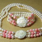3 Rows 8MM Pearl Pink Coral Necklace Bracelet
