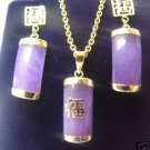 NOBLEST PURPLE JADE NECKLACE EARRING SET