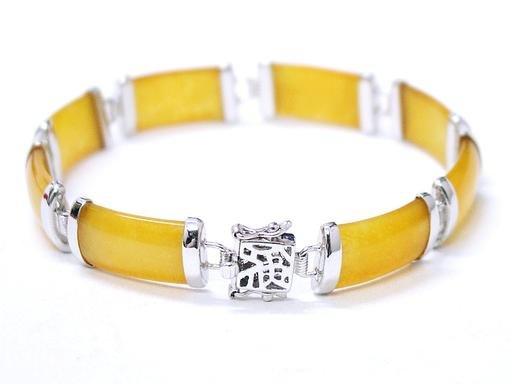 Charing honey yellow jade silver bracelet