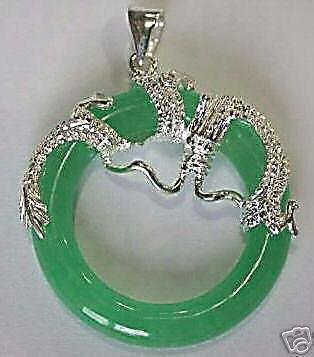 Beautiful Silver dragon Green Jade Pendant necklace