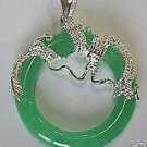 Beautiful Silver dragon Green Jade Pendant necklace