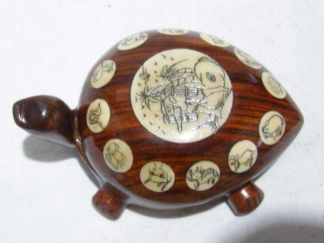 Rare Tibet rosewood carve turtle compass