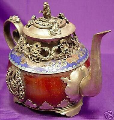Tibetan old red jade porcelain Silver monkey teapot