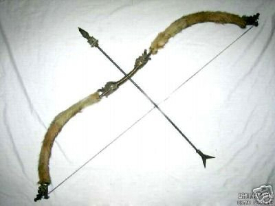 Rare Tibetan sheep skin bronze bow and arrow